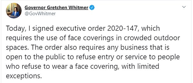 On Friday Gov. Gretchen Whitmer signed an executive order mandating face masks be used in public outdoor spaces and indoors following surge in cases in the state
