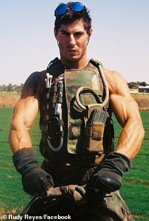 Reyes, pictured while still on active duty, has previously opened up about the devastating mental impact that leaving 'heavy combat' had on him - explaining that he suffered from depression