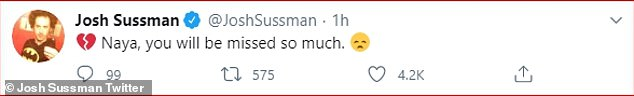 Thinking of her:Joshua Sussman - who portrayed Jacob Ben Israel in the Fox series - wrote: '[Broken heart emoji] Naya, you will be missed so much [sad face emoji]'
