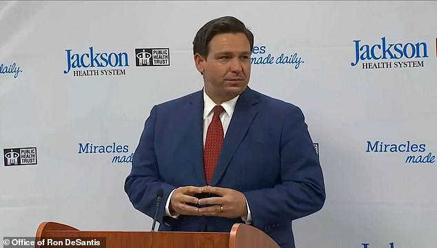 Ron DeSantis was heckled on Monday afternoon at a press conference in Miami