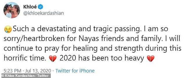 Tragique: `` Un décès si dévastateur et tragique '', a écrit l'homme de 36 ans.  'Je suis vraiment désolé / navré pour les amis et la famille Nayas'