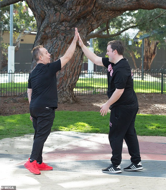High five!Upon completing the fitness session, Kieran and Shane congratulated each other by jubilantly giving each other a high five