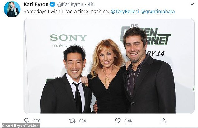 Memories: Byron paid tribute to her late pal on Twitter with a series of throwback pictures, including one of her, Imahara and Belleci with the caption: 'Somedays I wish I had a time machine'