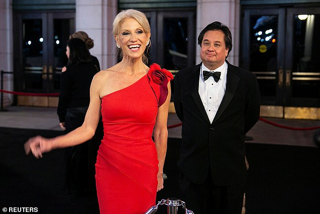 Kellyanne and George are pictured together January 2017, on the eve of Trump's inauguration