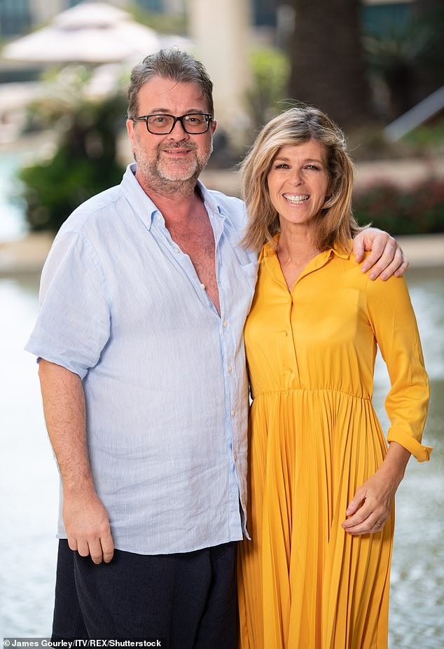 Sad:The presenter, 52, said on Tuesday's Good Morning Britain that nurses are setting up a television so Derek can watch her, as he continues to recover from COVID-19 (pictured in 2019)