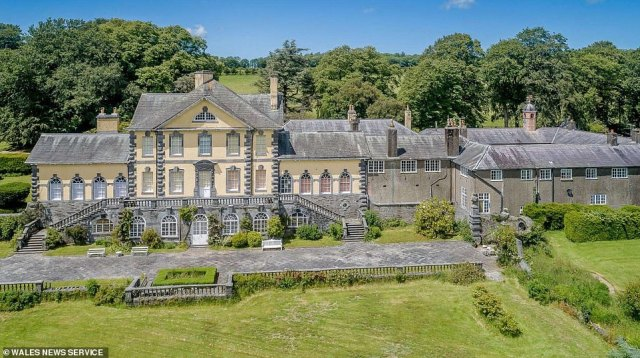 The 13-bed property, which is called Ffynone, was up for sale for £2million in the village of Boncath near Cardigan but is down £200,000 after being on the market for over a year