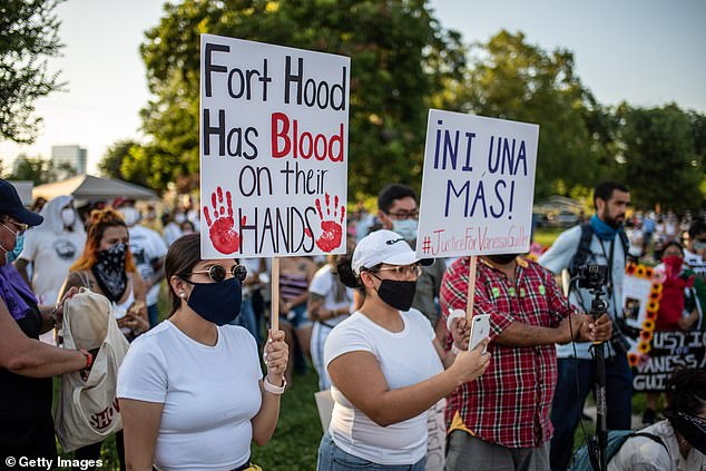 Protesters gather at a march and vigil for murdered Army Spec. Vanessa Guillen on July 12, 2020