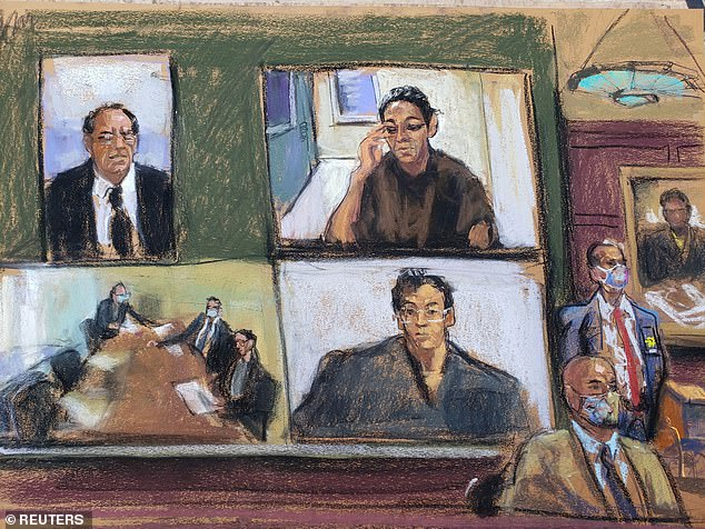 It wasn't until Judge Nathan began reading her decision that Maxwell finally broke down. She began moving uneasily in her chair as the judge said the evidence against her was 'strong'. When Judge Nathan said a 'combination of factors' showed she had the 'motive and opportunity' to flee before her trial, Maxwell wiped a tear away