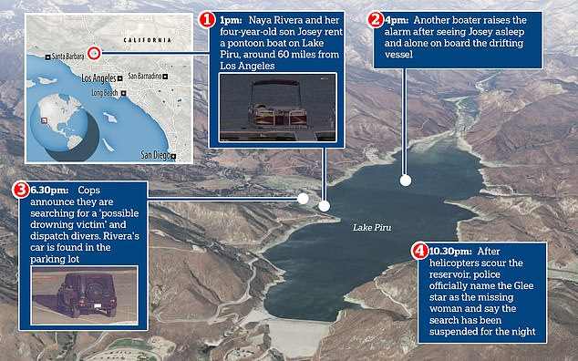 This diagram shows where actress Naya Rivera, 33, and her four-year-old son Josey hired a boat on Lake Piru before the boy was found alone. The top left map shows the location of the lake in relation to Los Angeles where Rivera lives