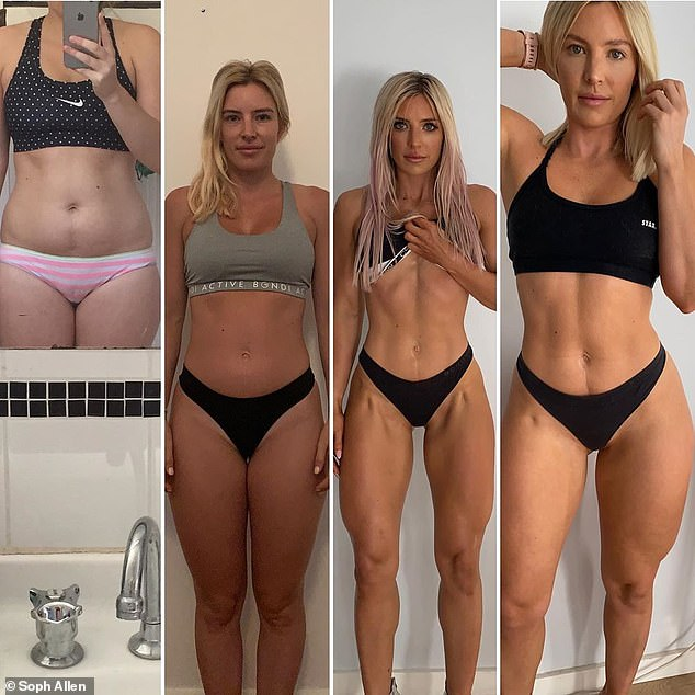 Sophie (pictured through the years) has transformed her physique throughout the years by 'bulking' and 'cutting'. Bulking encourages muscle growth while cutting is good for burning fat