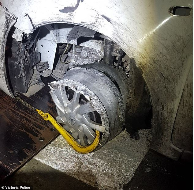 The 19-year-old driver told police the tyre was punctured and he didn't know how to change it (pictured)