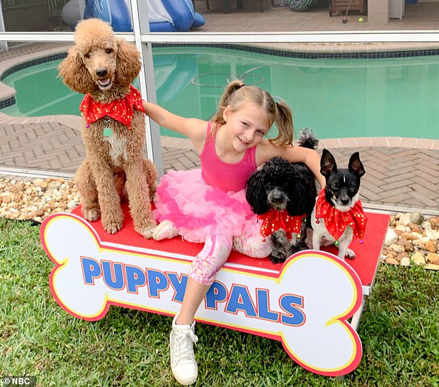 Dog act: Alexis Brownley, an eight-year-old girl from Weston, Florida, won a pass through with her dog act Puppy Pals.