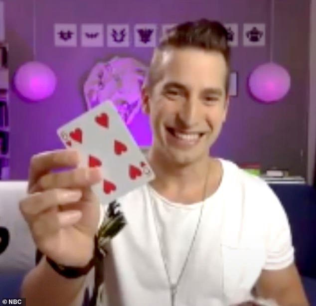 Magic man: The judges then sent through Las Vegas mentalist Max Major, who performed a card trick that had Sofia blindly choosing the same card he had, which made Simon call him 'a demon'