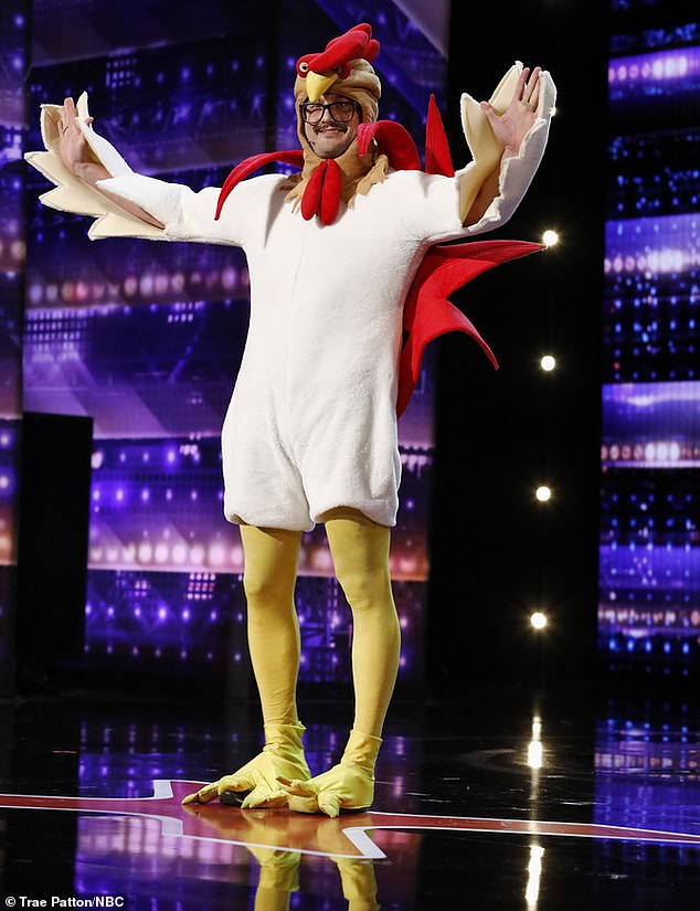 Chicken humor: Comedian Chicken Scratch Sam, from Fenton, Michigan, told jokes bracketed by chicken sounds and bad puns, which earned him a ticket through from Howie and Sofia.