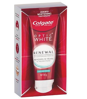 Procter and Gamble say there is no reliable scientific data to support the claim Colgate's Optic White Renewal toothpaste (pictured)  can remove yellow stains that have accumulated over the last 10 years