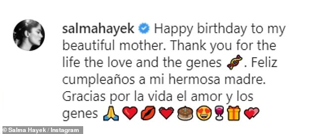 Sweet:Penning a message to her mother in both English and Spanish, she wrote: 'Happy birthday to my beautiful mother. Thank you for the life the love and the genes'