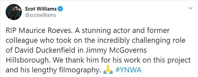 Actors paid tribute to Roeve's on Twitter after the thespian was today confirmed to have passed away