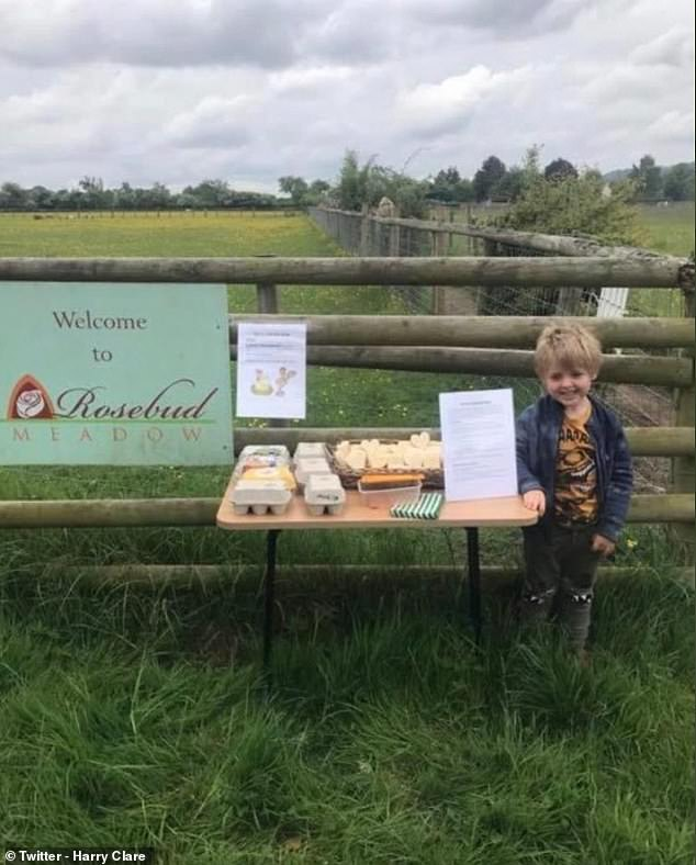 Harry Clare, five, from Malvern, Worcestershire, sells eggs and cheese from an honesty shop in his parents' glamping