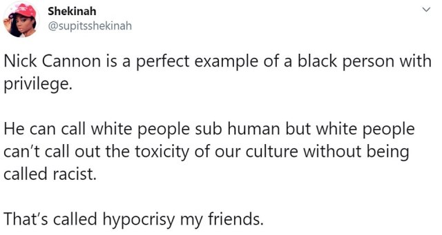 The controversy has sparked debate on social media as some said Cannon was wrong for painting white people as sub human