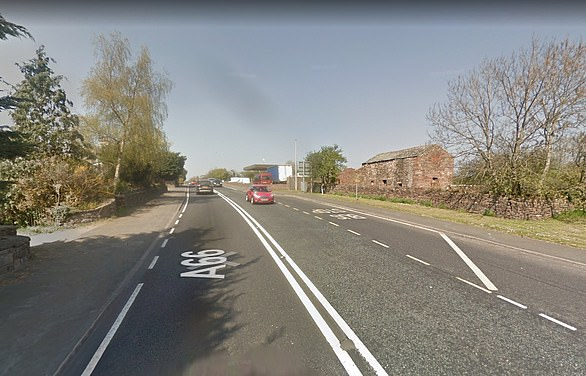Speed camera on the A66 West at Kirkby Thore in Cumbria