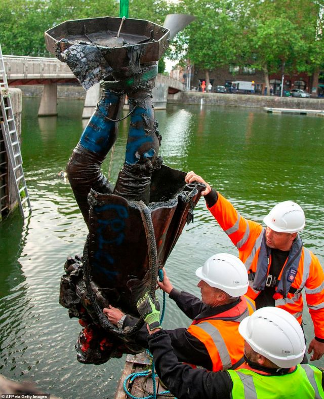 The statue of Edward Colston had to be fished out of Bristol Harbour and is being restored before it is taken to a museum