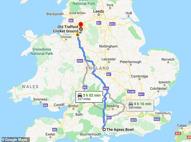 The players drove from the Ageas Bowl near Southampton to Old Trafford in Manchester - a journey of 227 miles lasting about four hours if the most direct route is taken