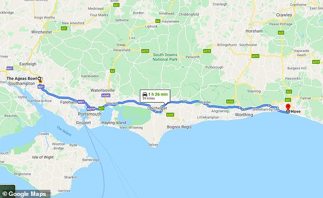 The detour from the Ageas Bowl to Archer's home in Hove added about 100 miles to the trip