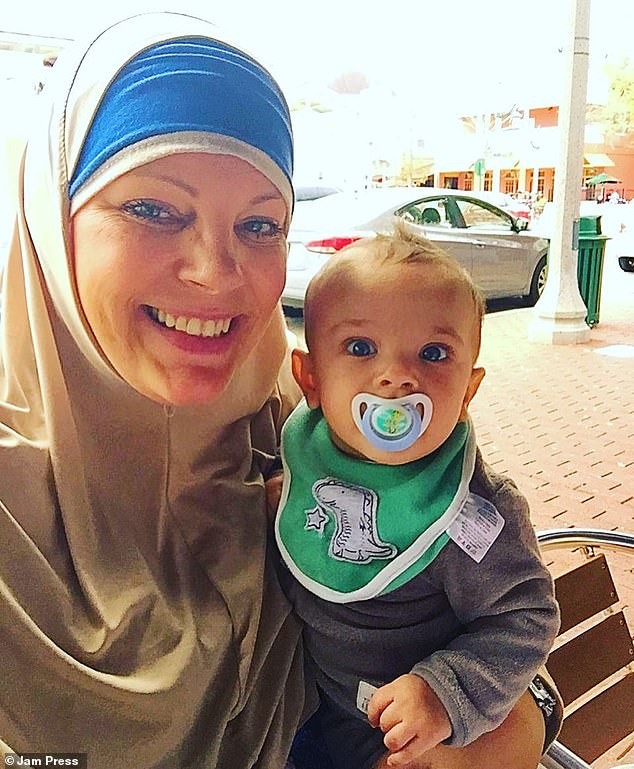 Upset: Mother-of-four Jill Mraidi, from Orlando, Florida, has revealed how her then-four-month-old son Qasim nearly lost his toes when her hair got wrapped around them
