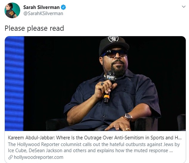 Jabbar's words were praised by a number of Jewish celebrities including Sarah Silverman and Jake Tapper