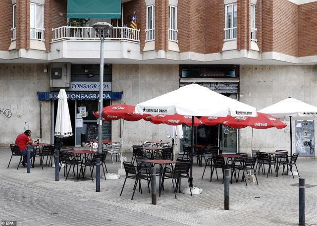 A view of the almost empty terrace of a bar in La Florida district, in L'Hospitalet near Barcelona