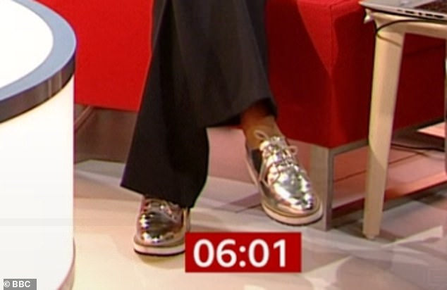 Adapted and booted: indignation seemed to be a reaction to Naga's shoes - a pair of silver brogues