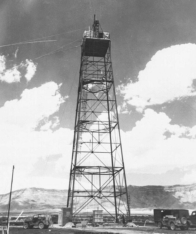 'The gadget' was mounted inside a shack atop a hundred-foot steel tower in order to give a better indication for how the weapon would act when dropped on a target from an airplane