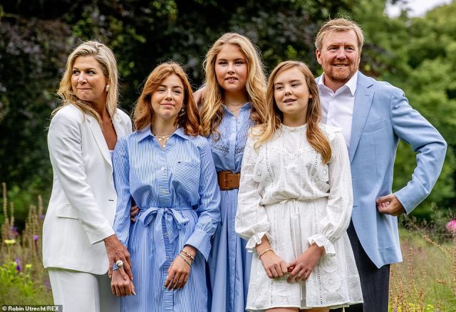 Matching her mother (left), Princess Ariane (second right) sported a white summer dress with pretty puff detail on the arms. Meanwhile, her big sisters (Amalia, centre and Alexia, second right) coordinated with their father, both opting for pale blue belted dresses which complemented the King's pastel blazer (right)