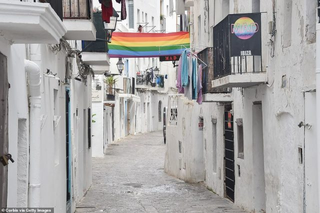 Ibiza's normally-bustling streets were extremely quiet in photos taken earlier this week