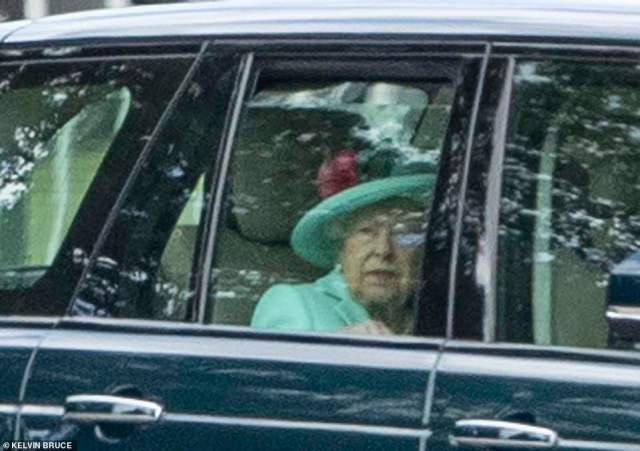 Photos show Her Majesty looking resplendent in green as she left Royal Lodge today. The Queen, 94, has now watched six of her eight grandchildren tie the knot