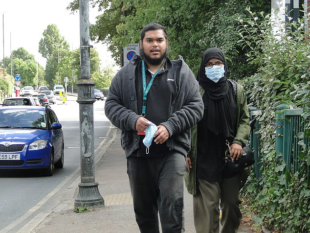 Muhammad Abdul Basir (pictured outside Wimbledon Magistrates Court), 24, from Mitcham, south London, denied stalking and racially harassing Tommy Robinson in court today