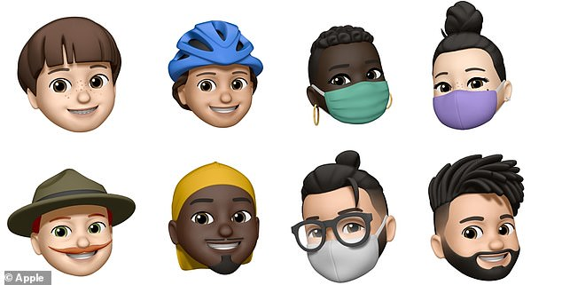 Some of the new memojis, part one, from left to right. Top row: bob cut, cycle helmet, face masks with two different types of seams. Bottom row: campaign hat,durag, man bun and fade hairstyle