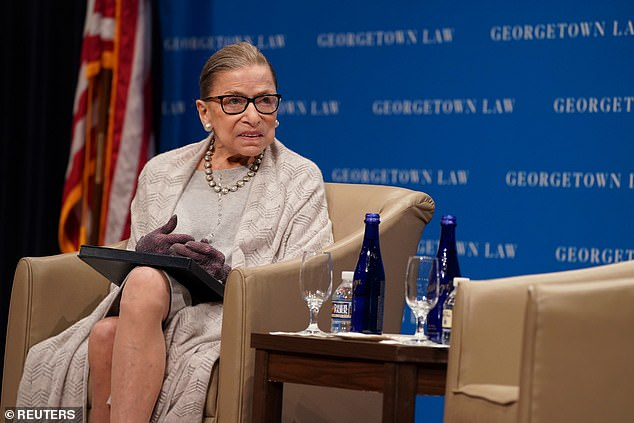 Supreme Court Justice Ruth Bader Ginsburg (seen last September) has been admitted to a hospital for treatment of a possible infection, according to a statement