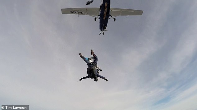 'I had to fight to choke back the tears. I¿d finally be getting a happily-ever-after marriage,' says Victoria. Pictured: Victoria in 2018 completing her first skydive since the incident