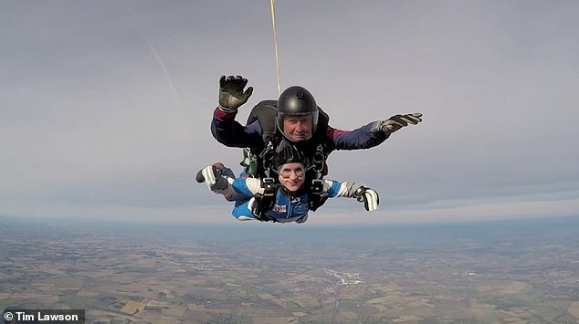 Victoria says: 'Everything was going so well that it hardly seemed worth mentioning I¿d noticed small amounts being withdrawn from our joint account. Then one day I got a red bill from Next, warning I hadn¿t paid for my latest order.' Pictured: Victoria skydiving in 2018