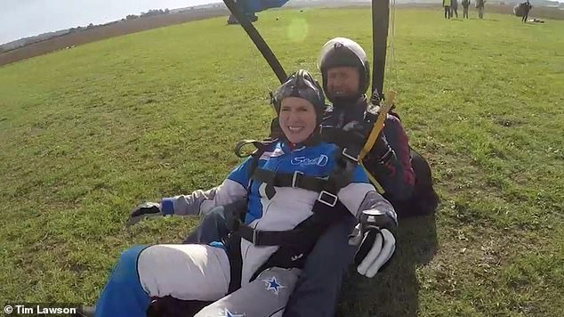 All smiles: Victoria Cilliers pictured in 2018 completing her first parachute since the incident