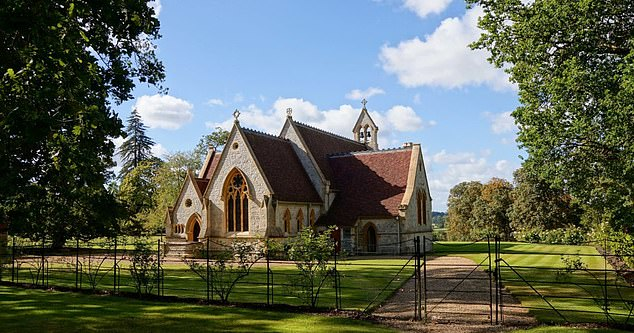 The ceremony took place at the Royal Chapel of All Saints (pictured) near Windsor Castle. The Queen regularly attends Sunday service when she is in the area