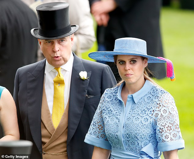 Pressure on the disgraced Andrew (pictured left with Beatrice) intensified following the arrest in the US of his close friend, Epstein's ex-girlfriend, Ghislaine Maxwell. The groom's cousin blamed the Prince's 'problems' for the clandestine wedding