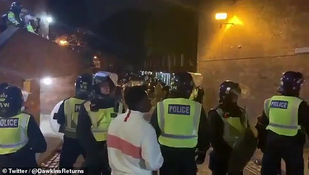 Police were seen breaking up a huge street party in Maida Vale, London