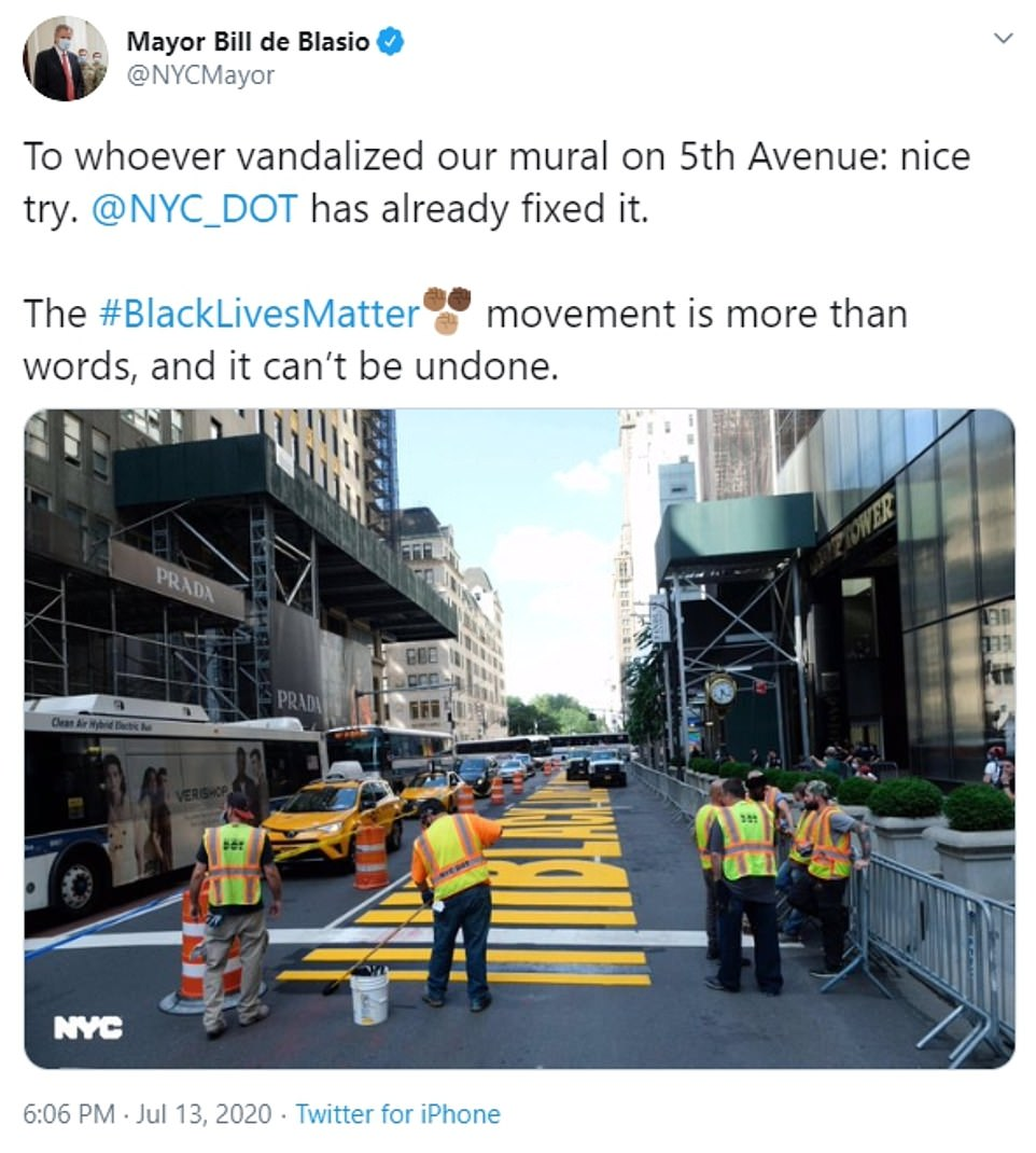 Mayor Bill de Blasio, who joined the community effort to paint the mural in large yellow letters last Thursday, hit out at the person responsible for the defacement in a tweet