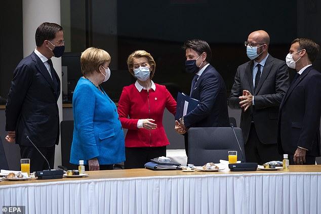 Mark Rutte, Angela Merkel, Ursula von der Leyen, Giuseppe Conte, Charles Michel and Macron (pictured left to right) during a EU summit in Brussels, Belgium yesterday