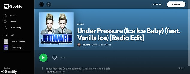 Odd: despite Jedward's accusations, Under Pressure continues to be available to stream on Spotify