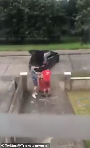 The man shouts at the dustbin man and climbs into the lorry before attacking the worker collecting a bin on a driveway