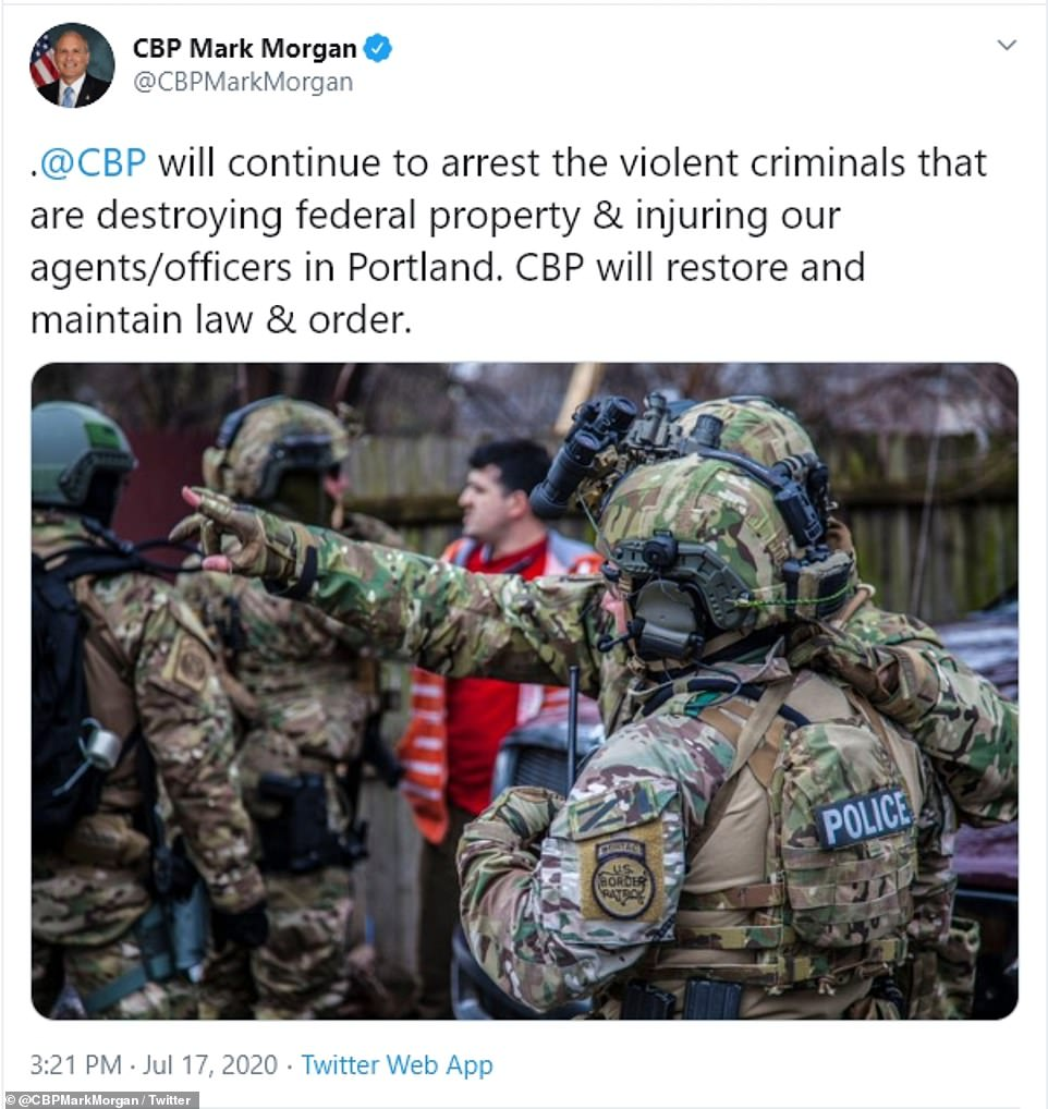 TheCommissioner of US Customs and Border Protection, Mark Morgan, confirmed on Twitter that Border Protection agents were in Portland and had conducted arrests
