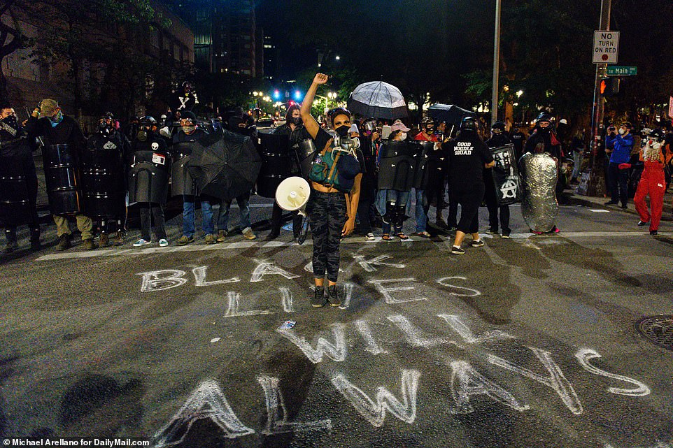 Protesters are seen during a demonstration in Portland, Oregon, Saturday night